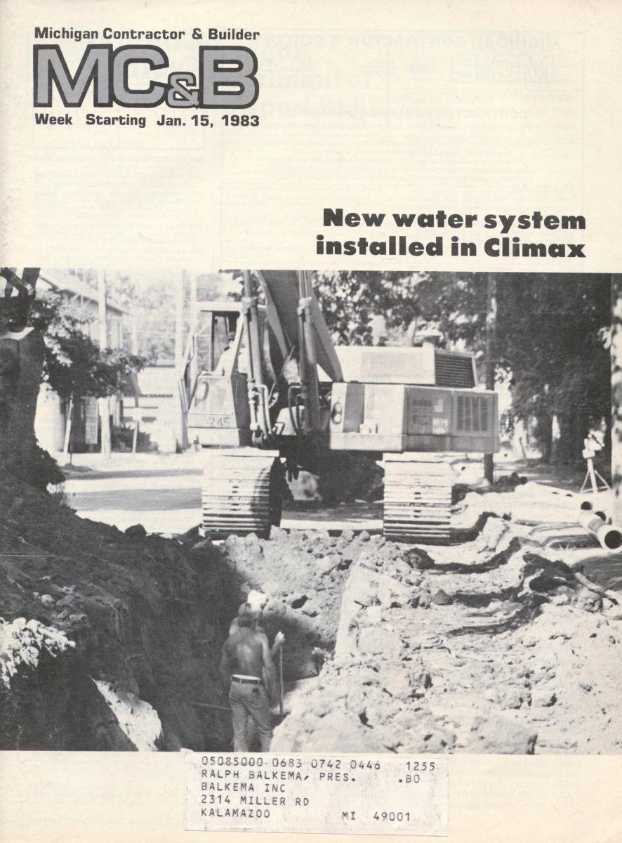 Michigan Contractor & Builder Magazine - Climax - 1983
